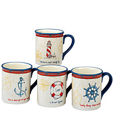 Certified International Coastal Life Nautical Mugs, Set of 4