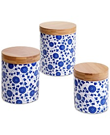 Certified International 6-Pc. Chelsea Indigo Poppy Lidded Canisters Mix & Match Set