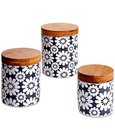 Chelsea Mix & Match Gray Floral Canisters, Set of 3