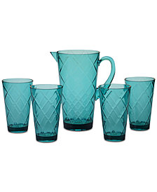 Certified International Teal Diamond Acrylic 5-Pc. Drinkware Set