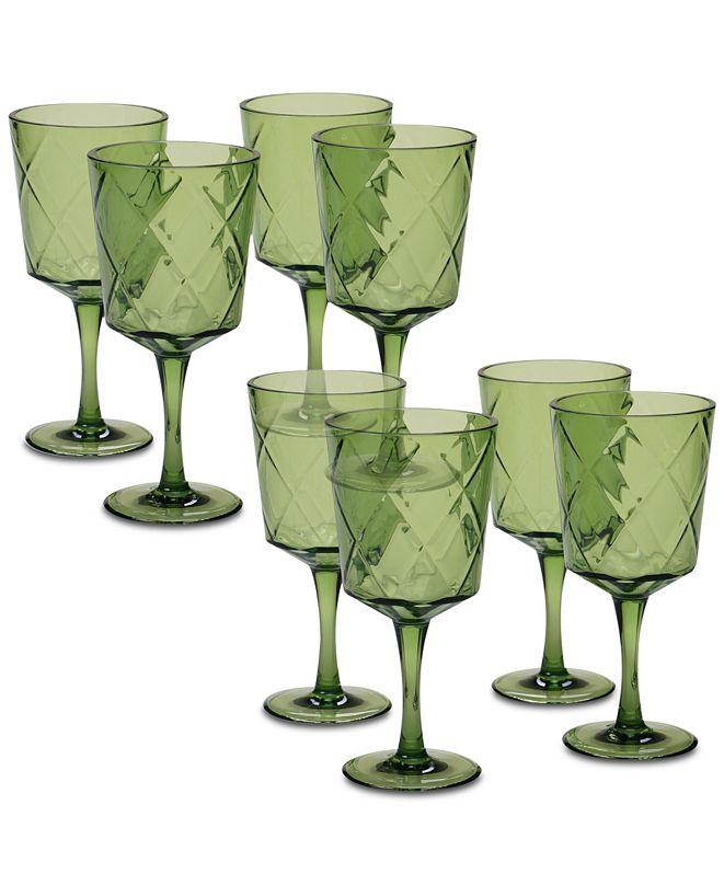 Certified International Green Diamond Acrylic 8-Pc. All-Purpose Goblet Set