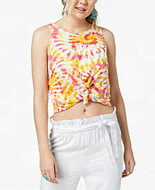 The Edit By Seventeen Juniors' Printed Knot-Front Cropped Tank Top, Created for Macy's