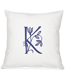 "Personalized Floral Initial 16"" Square Decorative Pillow"