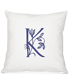 """Cathy's Concepts Personalized Floral Initial 16"""" Square Decorative Pillow"""