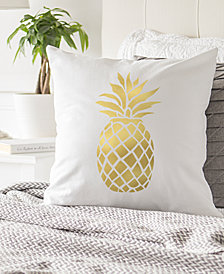 """Cathy's Concepts Gold Metallic-Print Pineapple 16"""" Square Decorative Pillow"""