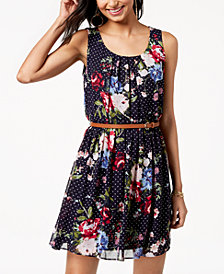 BCX Juniors' Belted Printed Dress