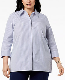 Kasper Plus Size Striped Shirt
