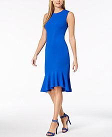 Calvin Klein Ruffled-Hem Sheath Dress