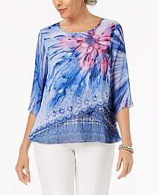 JM Collection Petite Printed Crisscross-Hem Top, Created for Macy's