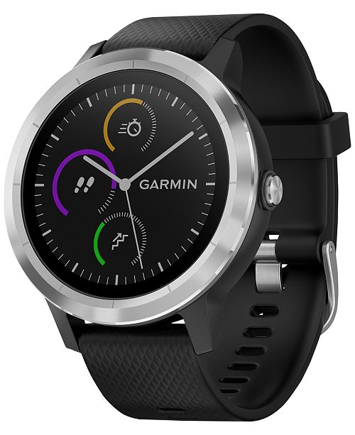 ... Garmin Unisex vívoactive® 3 Black Silicone Strap Smart Watch ...