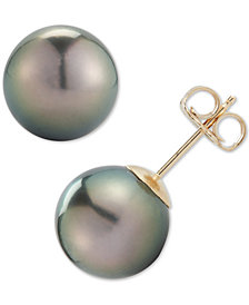 Black Cultured Tahitian Pearl 9mm Stud Earrings In 14k Gold