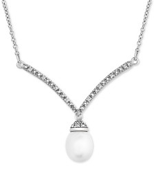 """Cultured Freshwater Pearl (9mm x 7mm) & Diamond Accent 17"""" Pendant Necklace in Sterling Silver"""
