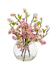 Nearly Natural Cherry Blossom in Large Glass Vase