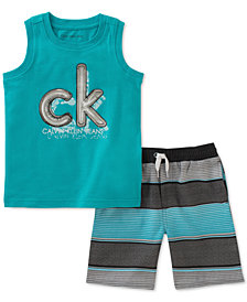 Calvin Klein Toddler Boys 2-Pc. Graphic-Print Tank Top & Striped Shorts Set