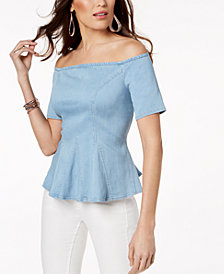 Thalia Sodi Off-The-Shoulder Denim Top, Created for Macy's