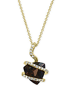 "EFFY® Smoky Quartz (3-1/3 ct. t.w.) & Diamond (1/10 ct. t.w.) 18"" Pendant Necklace in 14k Gold"