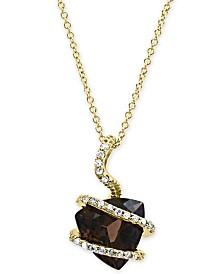 "EFFY® Smoky Quartz (3-1/3 ct. t.w.) & Diamond (1/10 ct. t.w.) 18"" Pendant Necklace in 14k Gold"