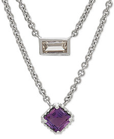 "Amethyst (3/4 ct. t.w.) White Topaz (3/8 ct. t.w.) Layered 17"" Pendant Necklace in Sterling Silver"