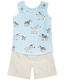 First Impressions Baby Boys Zebra-Print Tank Top & Shorts, Created for Macy's