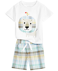 First Impressions Baby Boys Graphic-Print T-Shirt & Plaid Shorts Separates, Created for Macy's