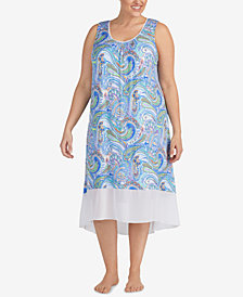 Ellen Tracy Plus Size Printed Chiffon-Hem Nightgown