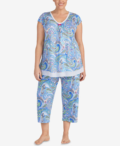 Ellen Tracy Plus Size Printed Chiffon-Hem Pajama Top & Pajama Pants Sleep Separates