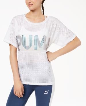 4ae1518ab0e4 Puma Metallic Logo Relaxed T-Shirt In White