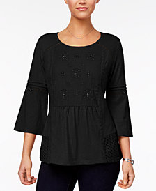 Style & Co Petite Embroidered Lantern-Sleeve Top, Created for Macy's