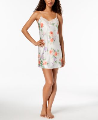 Floral-Print Sheer Lace Chemise, Created for Macy's