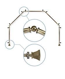 """Rod Desyne Trumpet 13/16"""" 5-Sided Bay Window Curtain Rod 140""""-240"""""""
