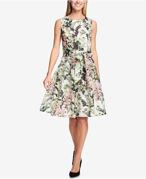 06a445100e6 ... Tommy Hilfiger Floral-Print Shadow-Stripe Fit & Flare Dress ...