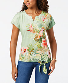 Alfred Dunner Parrot Cay Parrot-Print Front-Tie Top
