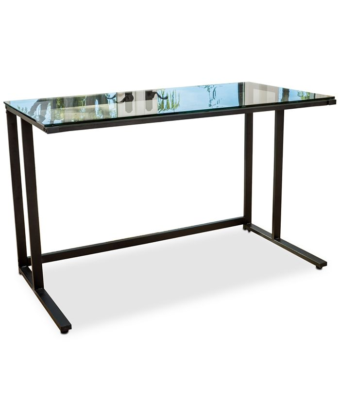 Noble House - Connelly Clear Tempered Glass Computer Desk, Quick Ship