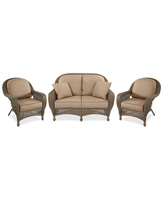 Furniture Sandy Cove Outdoor Wicker 3 Pc Seating Set 1