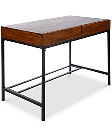 Morgan Industrial Acacia Wood Storage Desk with Rustic Metal Iron Accents, Quick Ship