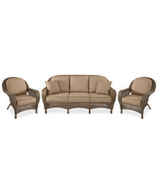 Sandy Cove Outdoor Wicker 3-Pc. Seating Set (1 Sofa and 2 Club Chairs) Custom Sunbrella®, Created for Macy's
