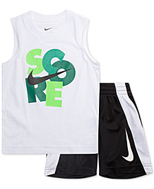 Nike Little Boys 2-Pc. Score-Print Muscle Tank & Shorts Set