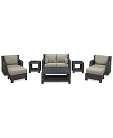 Viewport Outdoor Wicker 8-Pc. Seating Set (1 Loveseat, 2 Swivel Gliders, 2 Ottomans, 1 Coffee Table & 2 End Tables) with Custom Sunbrella® Colors, Created for Macy's