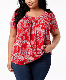 Style & Co Plus Size Print Pleated-Neck Top, Created for Macy's
