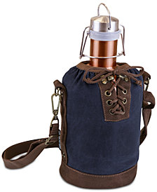Picnic Time Insulated Navy & Brown Growler Tote with 64-Oz. Copper Stainless Steel Growler