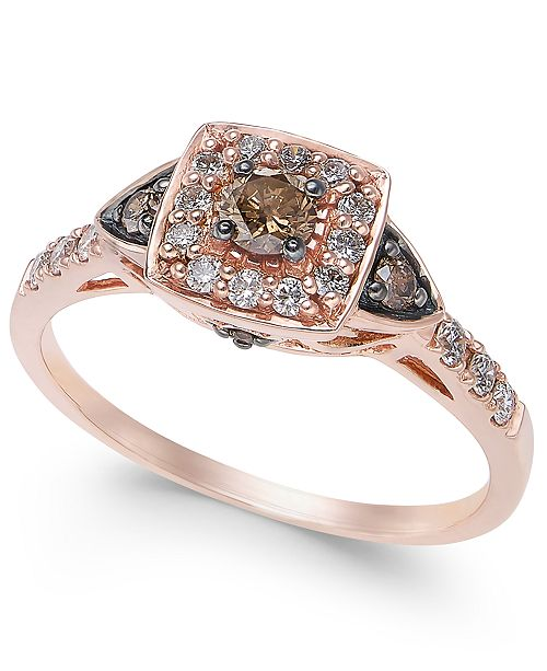 Le Vian Chocolate by Petite Chocolate and White Diamond Ring (3/8 ct. t.w.) in 14k Rose Gold