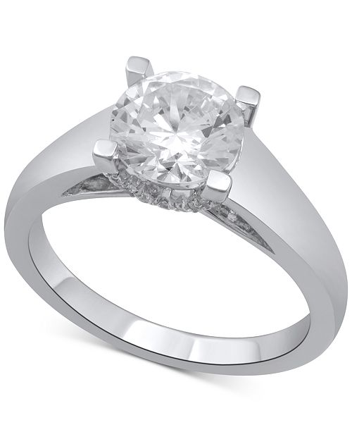 Macy's Diamond Solitaire Plus Engagement Ring (2 ct. t.w.) in 14k White Gold