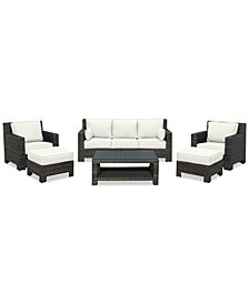 Viewport Outdoor Wicker 6-Pc. Seating Set (1 Sofa, 2 Club Chairs, 2 Ottomans & 1 Coffee Table) with Custom Sunbrella® Colors, Created for Macy's