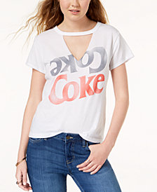 Mighty Fine Juniors' Coke Graphic-Print Choker T-Shirt