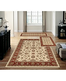 KM Home Stadio Meshed Ivory/Brick 3-Pc. Rug Set