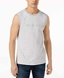 Calvin Klein Jeans Men's Graphic-Print Striped Tank