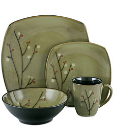 Sango Blooming Blossoms Black 16-Pc. Dinnerware Set