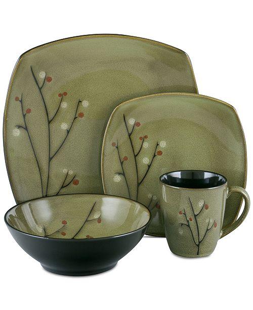 Sango Blooming Blossoms Black 16-Pc. Dinnerware Set - Dinnerware ...