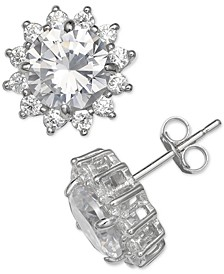 Cubic Zirconia Starburst Stud Earrings in Sterling Silver, Created for Macy's