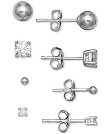Giani Bernini 4-Pc. Set Cubic Zirconia & Ball Stud Earrings in Sterling Silver, Created for Macy's